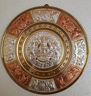 """JLine Arts Gajalakshmi 10"""" Thanjavur Art Plate Metal Art with Wall Hanging and Unbreakable Fibre Glass on The Front"""