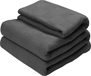 Utopia Bedding Premium Cotton Blanket Queen Grey - Soft Breathable Thermal Blanket - Ideal for Layering Any Bed