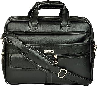 ZIPLINE Office Laptop Vegan Leather Executive Formal 15.6 Laptop Briefcase Messenger Bag for Men Women with Multiple compartments (Black)