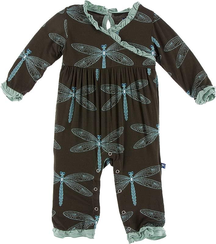 KicKee Pants Print Long Sleeve Kimono Ruffle Romper Paleontology Collection