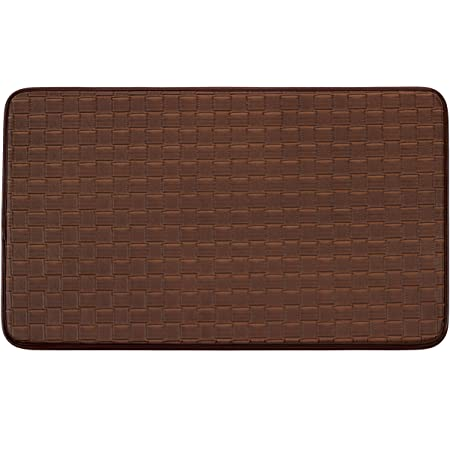 Amazon Com Chef Gear Faux Leather Basket Weave 18 X 30 In Comfort Chef Mocha Coffee Print Kitchen Mat Home Kitchen
