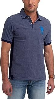 Mens Stripe Color Block Pique Polo Shirt with Big Pony