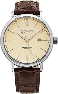 SO&CO New York Men's Off White Dial Leather Band Watch - 5266L.1
