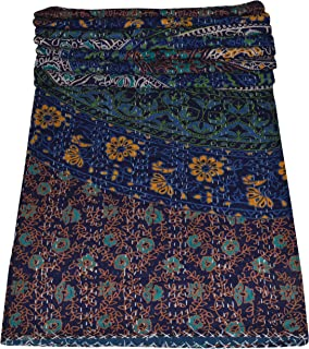 SHIRANYA Indian Handmade Queen Cotton Kantha Quilt Throw Blanket Bedspread Floral Print 90x108 Inch 220x270 cm Approx