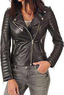 جاكيت راكب الدراجات الجلدي الجلدي للنساء من جلد الخراف