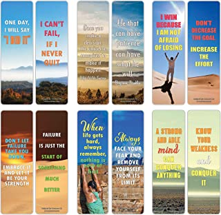 Creanoso Inspirational Strong Determination Life Quotes Bookmarks (12-Pack) – Premium Gift Set – Awesome Bookmarks Collection Set – Gifts for Adult Men & Women, Teens – Good Vibes