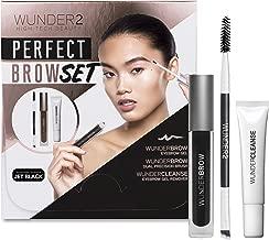 WUNDER2 PERFECT BROW SET- WunderBrow Eyebrow Gel, WunderCleanse & Dual Precision Brush, Jet Black