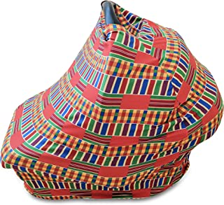 Baby Carseat Nursing Cover 4-in-1 in African Kente Print (Multi-Color)