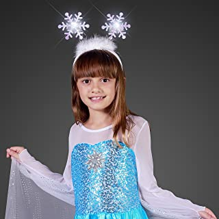 Light Up Snowflakes Head Boppers Headband with White Flashing LED Lights