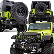 Restyling Factory -Rock Crawler Stinger Front Bumper with OE Fog Lights Hole and Winch Plate+Rear Bumper with Tire Carrier & 2
