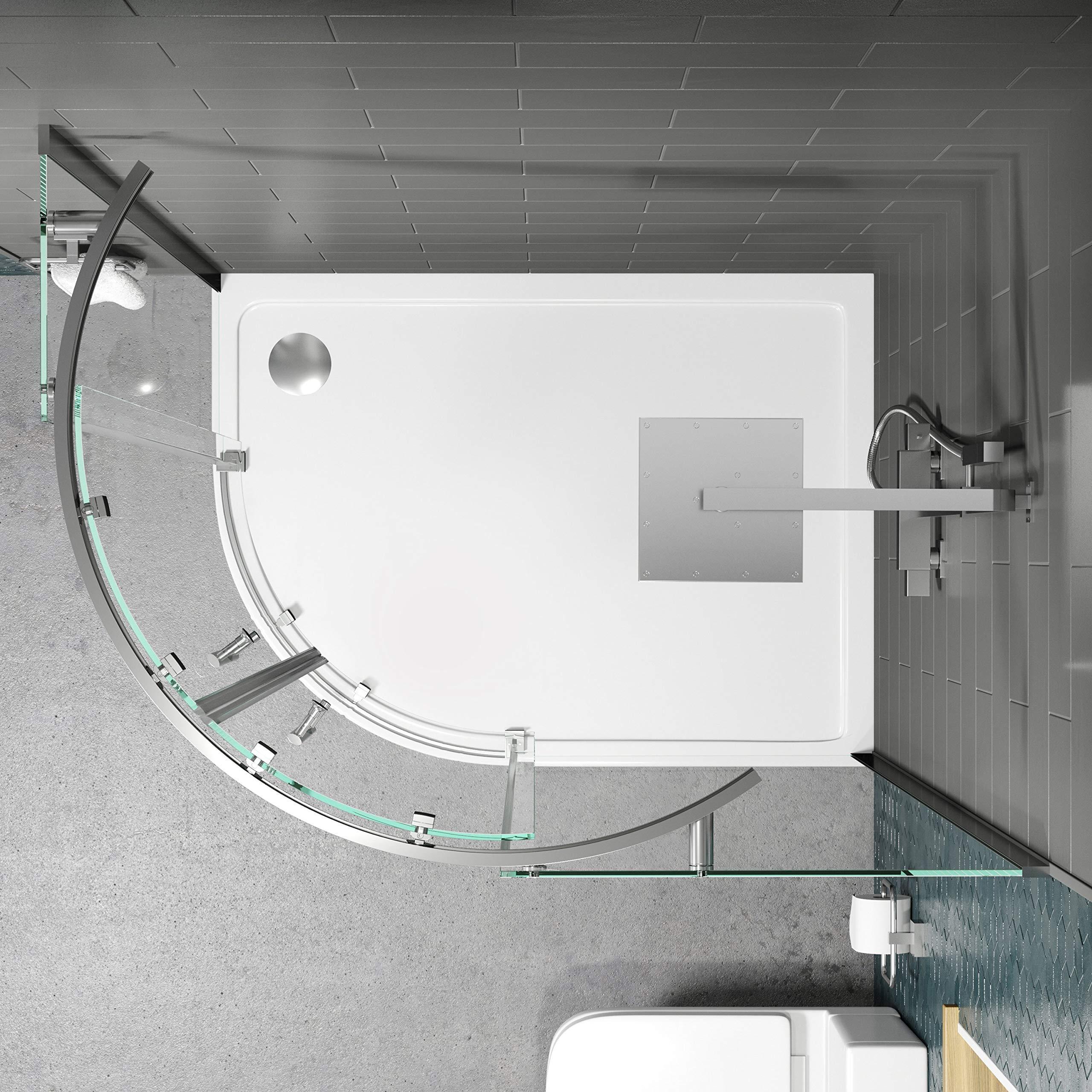 Diamond - Mampara de Ducha (1200 x 900 mm, sin Marco, Cristal de Seguridad de 8 mm): Amazon.es: Hogar