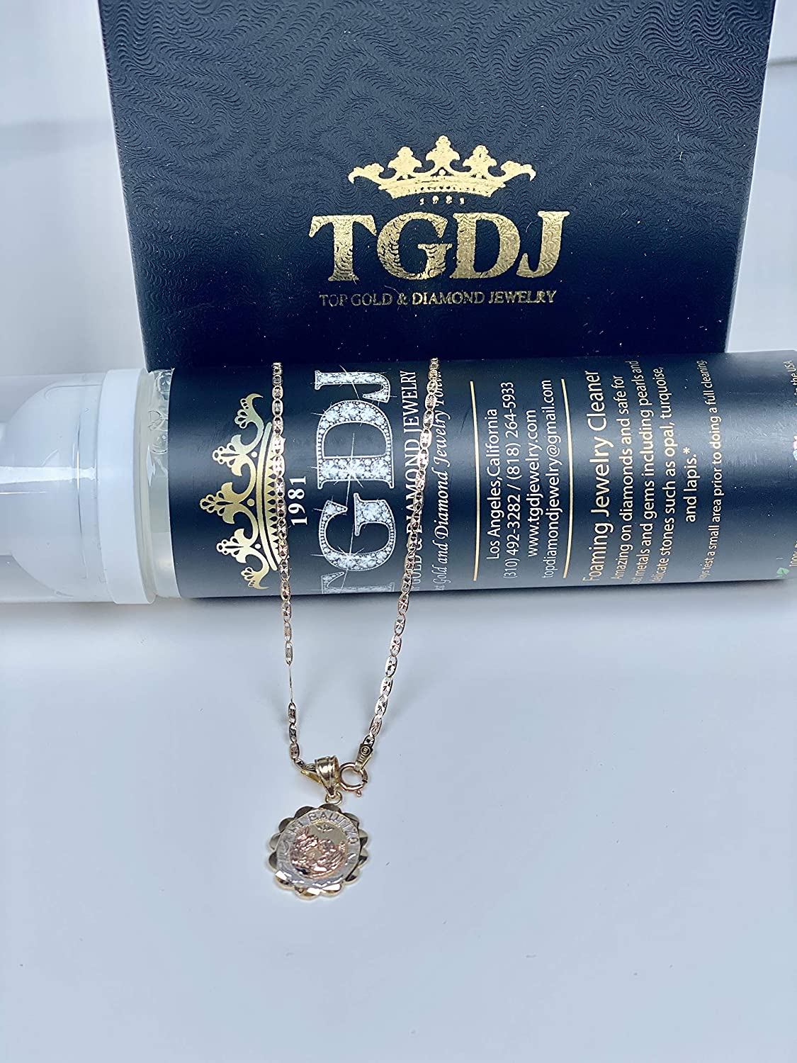 14k Tri-color Gold Religious Baptism Pendant with 1.5mm Valentino Diamond Cut Chain Necklace