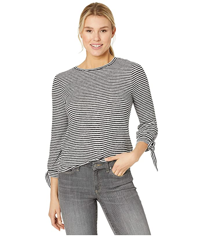 Lucky Brand  Stripe Tie Sleeve Cloud Jersey Top (Black/White Stripe) Womens Clothing