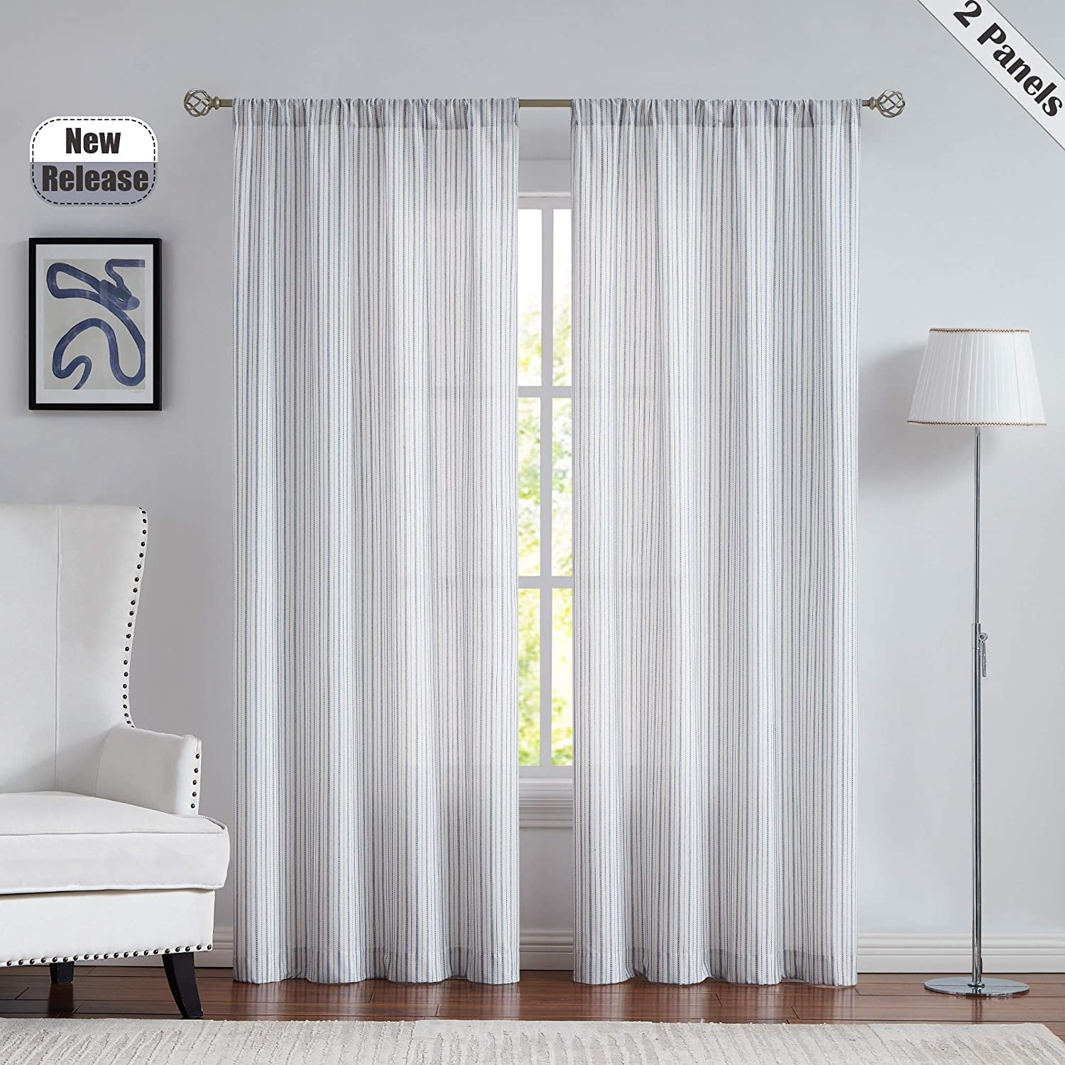 SXZJTEX Striped Cafe Window Curtain Tiers Rustic Semi Sheer Pinstripe Small Window Drapes Rod Pocket for Living Room /& Kitchen White//Black Laudry 27 x 24 Patio