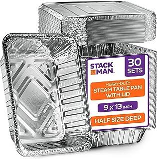 "Aluminum Foil Pans with Lids - 9""x13"" Half-Size Deep [30-Sets] Heavy-Duty Steam Table Pan - Disposable Baking Pan - Tin Fo..."