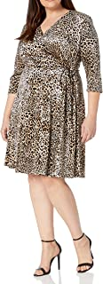 Tahari ASL Damen Velvet Leopard Print Wrap Dress Cocktailkleid