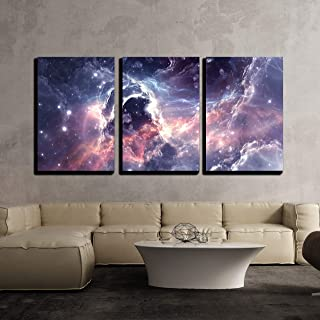 wall26 - 3 Piece Canvas Wall Art - Plasmatic Nebula, Deep Outer Space Background with Stars - Modern Home Decor Stretched and Framed Ready to Hang - 16