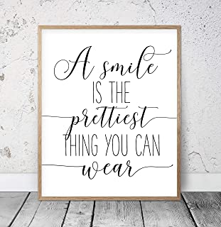A Smile Is The Prettiest Thing You Can Wear Motivational Poster Inspirational Print Nursery Wall Art Girls Room Decor Girls Quotes Wood Pallet Design Wall Art Sign Plaque with Frame wooden sign