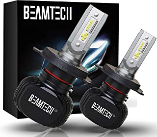 BEAMTECH H4 LED Bulb, 50W 6500K Extremely Brigh (9003) CSP Chips Conversion Kit Fanless Cool White All In One Plug N Play ...