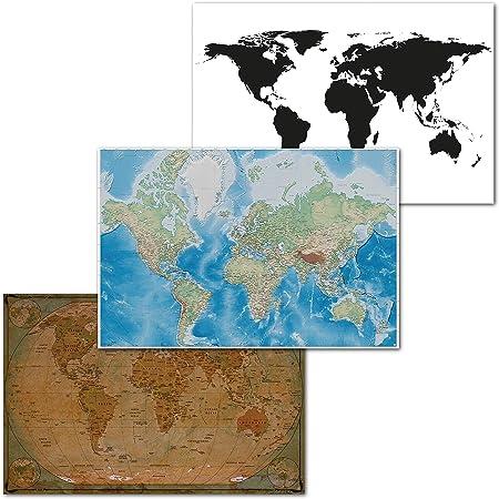 Cartina Geografica Del Mondo In Bianco E Nero.Designfair Poster Con Mappa Del Mondo Colore Bianco E Nero Amazon It Cancelleria E Prodotti Per Ufficio