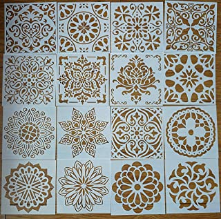 Mandala Reusable Stencil Set of 16 (6x6 inch) Painting Stencil, Laser Cut Painting Template for DIY Decor, Painting on Wood, Airbrush, Rocks and Walls Art