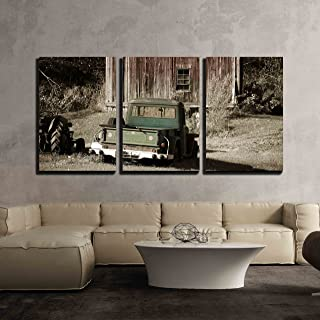 wall26 - 3 Piece Canvas Wall Art - Old Truck in Front of a Old Barn - Modern Home Decor Stretched and Framed Ready to Hang - 16