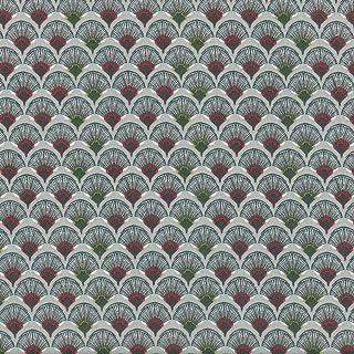 Textiles français Tela Ventiladores Tradicionales (Rojo, Verde Oliva, Taupe y Blanco sobre un Fondo Gris Medio) - Colección Bonnes Vacances | 100% algodón Suave | Ancho: 140 cm (por Metro Lineal)*