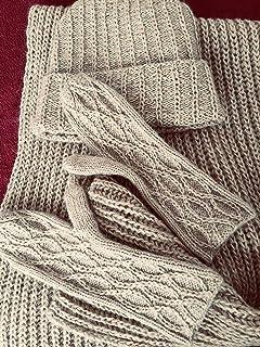 Set de bufanda, gorro y manoplas de mohair y algodón, beige, para mujer o chica