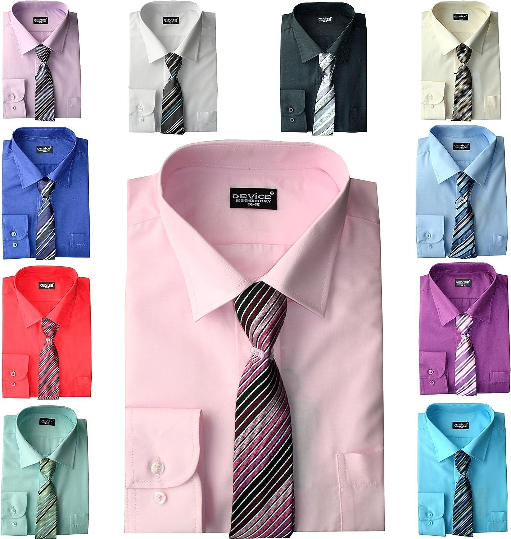 DEVICE Niños Formal Camisa de Manga Larga Set Corbata Elegante Boda Fiesta Camisas 6 Meses-15 Años