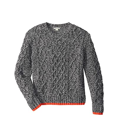 crewcuts by J.Crew Cableknit Cotton Sweater (Toddler/Little Kids/Big Kids) (Black/Ivory Marl) Boy
