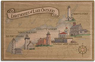 Lighthouses of Lake Ontario (10x15 Wood Wall Sign, Wall Decor Ready to Hang)