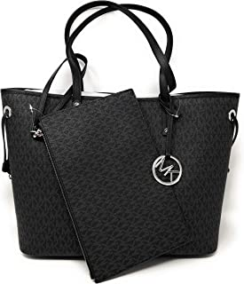 be08c826856a Michael Kors Jet Set Travel Large Drawstring Tote Black MK Signature
