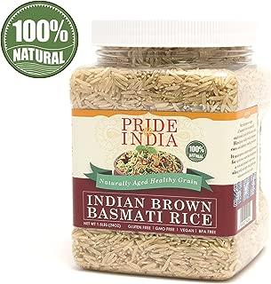 Pride Of India - Extra Long Brown Basmati Rice - Naturally Aged Healthy Grain, 1.5 Pound Jar