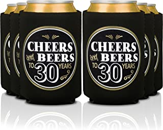 Birthday Coozies - Cheers and Beers to 30 Years | 30th Birthday Party Gifts for Men - Decorations for Retirement Anniversary Favor | Can Insulating Sleeve Cooler Covers | Insulated Beer Bottle Holder
