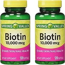 Spring Valley Biotin 10,000 mcg, 2 Bottles of 120 Softgels (2 Pack)