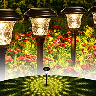 GIGALUMI 8 Pack Solar Pathway Lights, Solar Garden Lights Outdoor Warm White, Waterproof Led Path Lights for Yard, Patio, ...