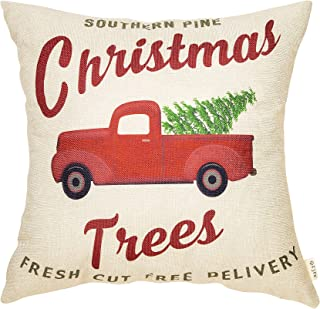 Fjfz Rustic Holiday Farmhouse Décor Red Truck Southern Pine Christmas Trees Fresh Cut Winter Decoration Cotton Linen Home Decorative Throw Pillow Case Cushion Cover for Sofa Couch 18