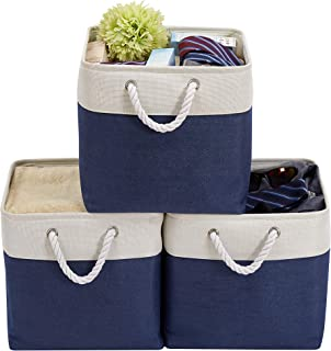 DECOMOMO Foldable Storage Bin [3-Pack] Collapsible Sturdy Cationic Fabric Storage Basket Cube W/Handles for Organizing Shelf Nursery Home Closet & Office (Navy Blue and White, 13 X 13 X 13)