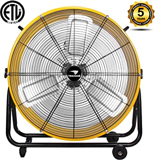 Tornado High Velocity 3 Speed-7680 CFM-Air Circulator Movement Heavy Duty Metal Industrial, Commercial, Residential, Greenhouse Use-ETL Listed 5 Year Warranty, 24 Inch Floor Drum Fan