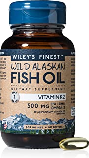 Wiley's Finest Wild Alaskan Fish Oil - Mini Vitamin K2 500mg, D3 2000 IU, 500MG EPA + DHA Omega-3, 60 Softgels