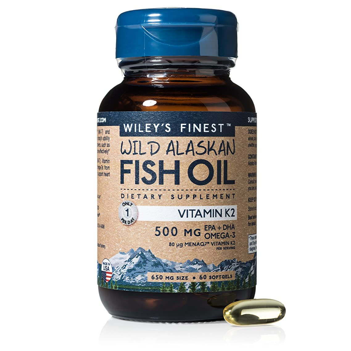 Wiley's Finest Vitamin K2 with MK-7 and D3 500mg EPA + DHA Omega-3 60 Softgels