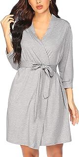 PEATAO Damen Morgenmantel Schlafshirt Baumwolle Kimono Nachthemd Negligee Robe V-Ausschnitt Leichte Pyjama Kurzstrickbademäntel Kurz Saunamantel mit Tasche