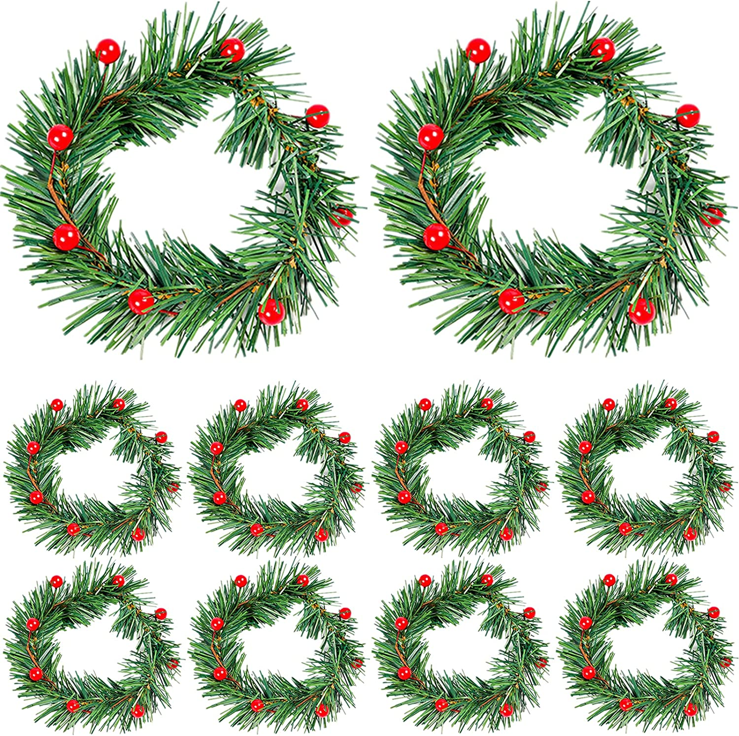 OFFicial mail order Christmas Sacramento Mall Candle Rings Green Rattan with Berry Wreath Red Woven