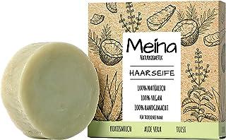Meina - Haarseife Naturkosmetik - Bio Shampoo Bar mit Kokosmilch, Aloe Vera und Tulsi 1 x 80 g palmölfrei, vegan, festes Shampoo für trockenes Haar, Shampooseife für Männer und Frauen