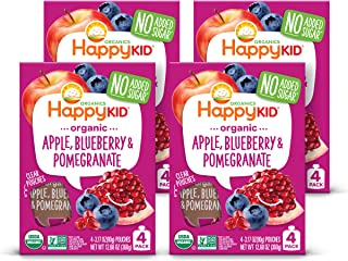 Happy Kid Organic Superfoods Twist Apple Blueberry Pomegranate, Baby Toddler Kid Snack, Resealable, No Added Sugar Non-GMO...