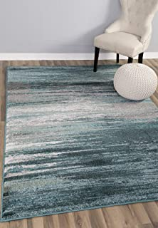 Teal & Gray Stripes Traditional Distressed 5 x 8 [ 5' 3