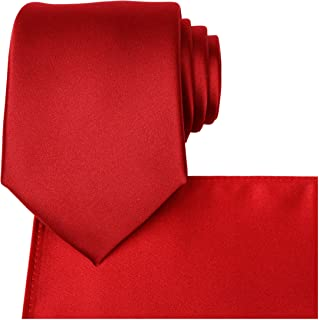 Solid Tie Set Satin Wedding Ties + Pocket Square + Gift Box