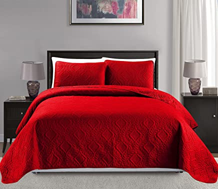 Mk Collection King/California King Over Size 118x106 3 pc Diamond Bedspread Bed-Cover Embossed Solid Red New