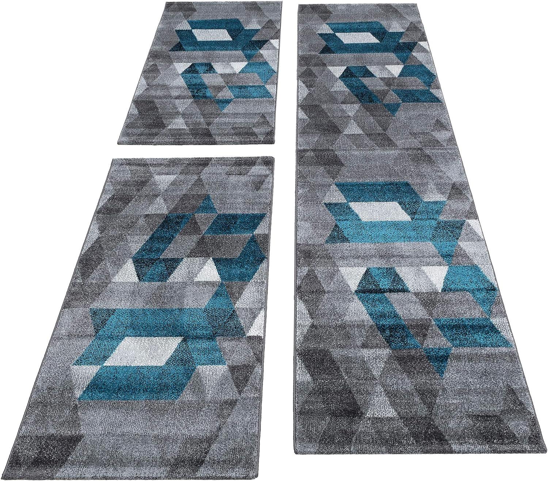 Set Lufer teilig 3 Dreieck Kariert abstrakt Teppich ...