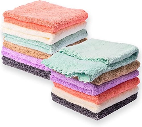 Kyapoo Baby Washcloths 12 Pack 12x12 Inches Microfiber Coral Fleece Extra Absorbent and Soft for Newborns, Infants an...